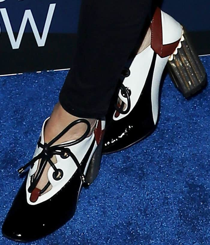 Cherry on top: Maria shuns big accessories for a pair of statement pumps by Christian Dior