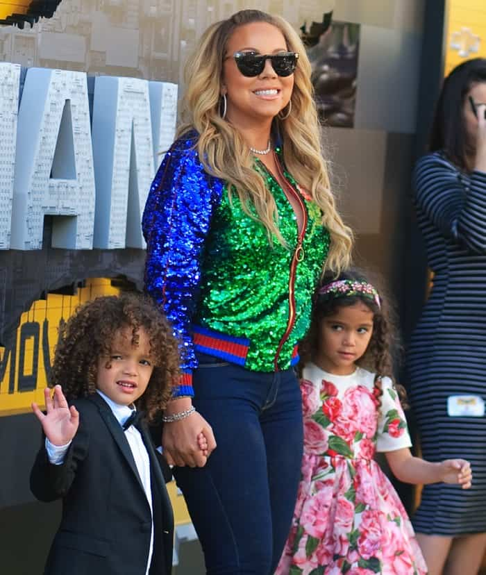 Mariah Carey, Moroccan Scott Cannon, and Monroe Cannon at the premiere of her new film 'The Lego Batman Movie' in Los Angeles on February 4, 2017