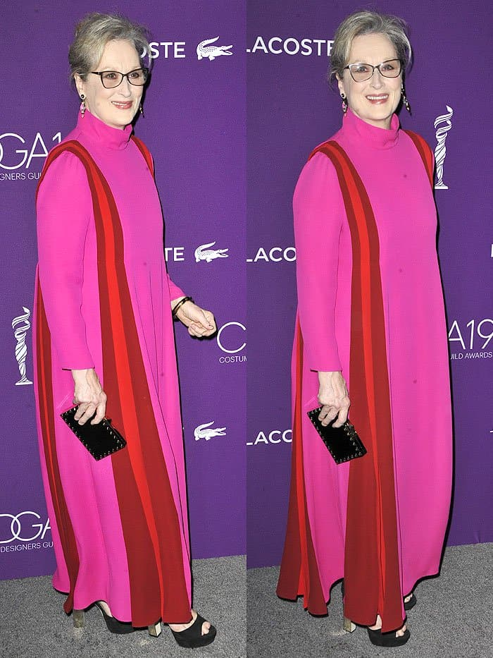 Meryl Streep in pink-and-red Valentino gown and Jimmy Choo platform sandals