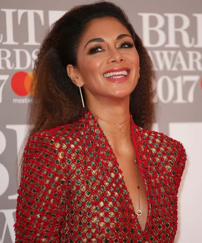 Nicole Scherzinger wearing a jacket-dress at the 2017 Brith Awards at The O2 Arena in London on February 22, 2017