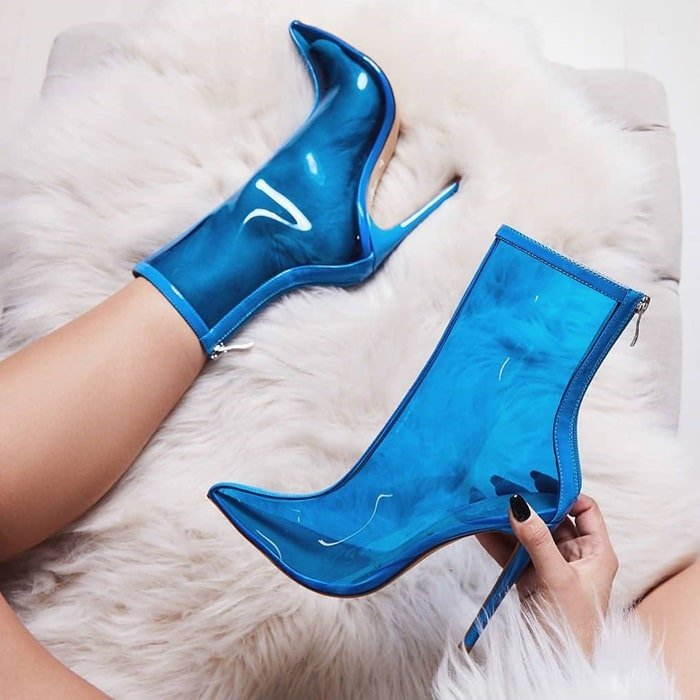 Selina Perspex Ankle Boot In Blue Patent