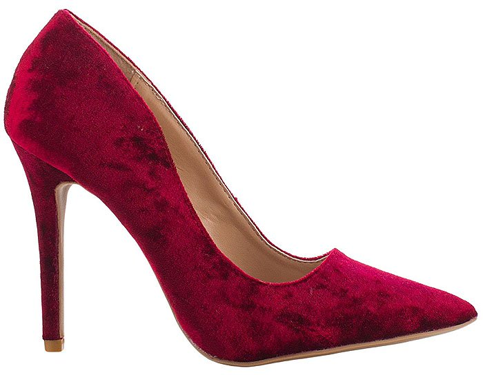 Qupid Crushed Velvet Pointy-Toe Pumps