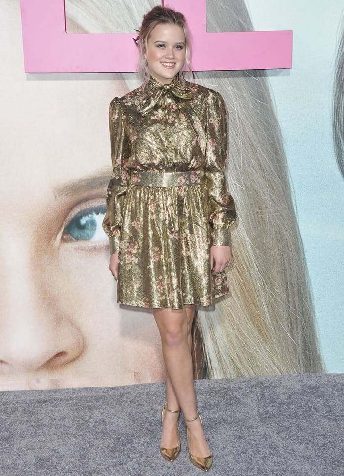 Ava Phillippe wearing a Haney Fall 2017 floral dress