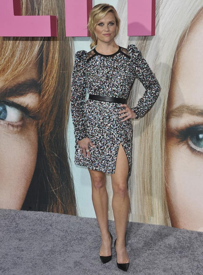 Reese Witherspoon flaunts her sexy legs in an embellished Elie Saab Pre-Fall 2017 dress and jewelry from Tiffany & Co.
