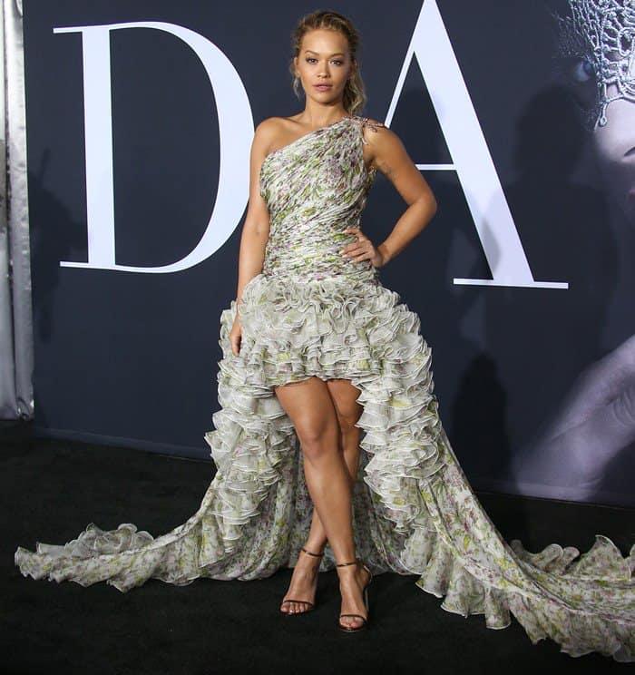 Rita Ora in Giambattista Valli Couture Gown and \'Nudist\' Sandals