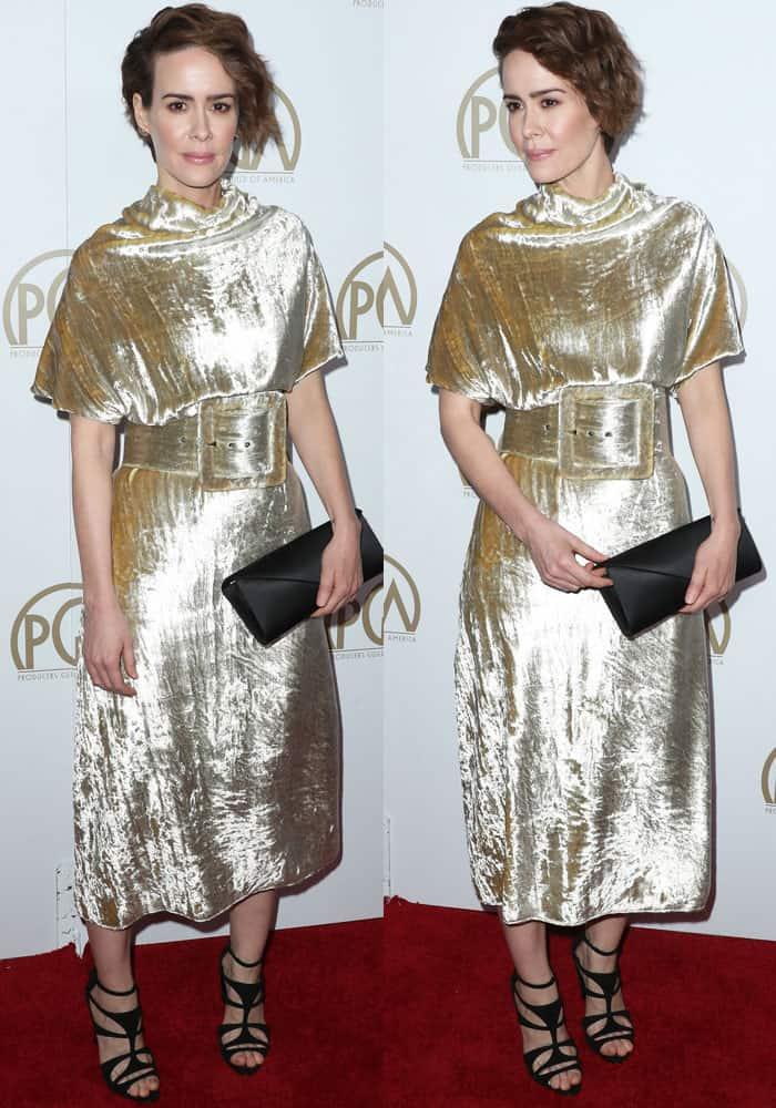 Sarah fails in a frumpy looking velvet dress by Maison Margiela