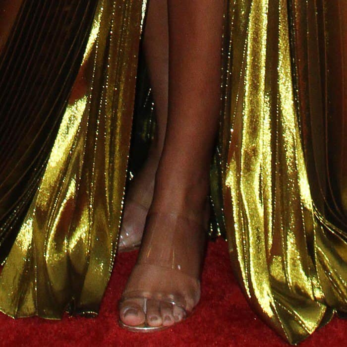 Solange wearing PVC sandals from Maryam Nassir Zadeh