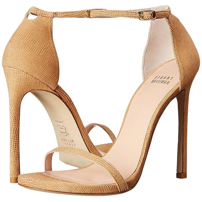 "Stuart Weitzman ""Nudist"" Ankle-Strap Sandals in Pan Goose Bump Nappa"