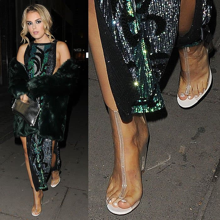 Tallia Storm in clear peep-toe booties