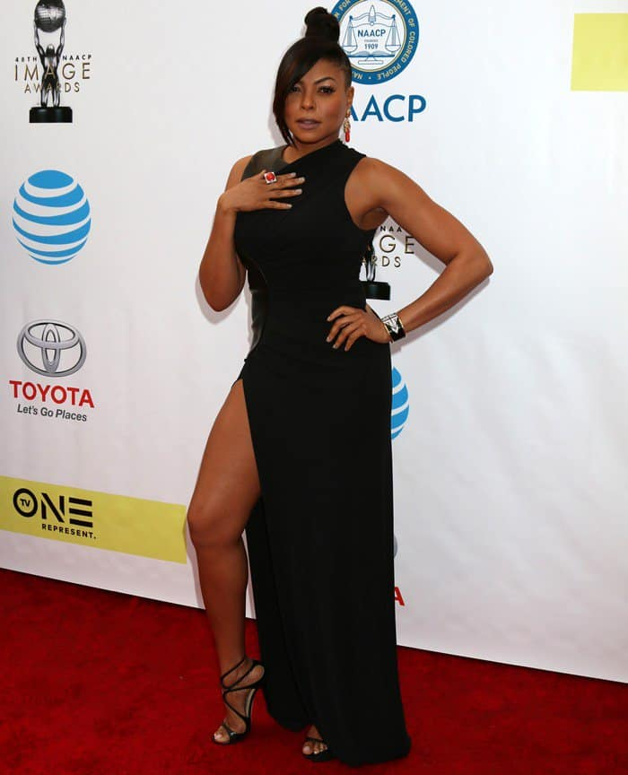 Taraji P. Henson's endless legs in a lovely leather-accented Alexander Wang dress