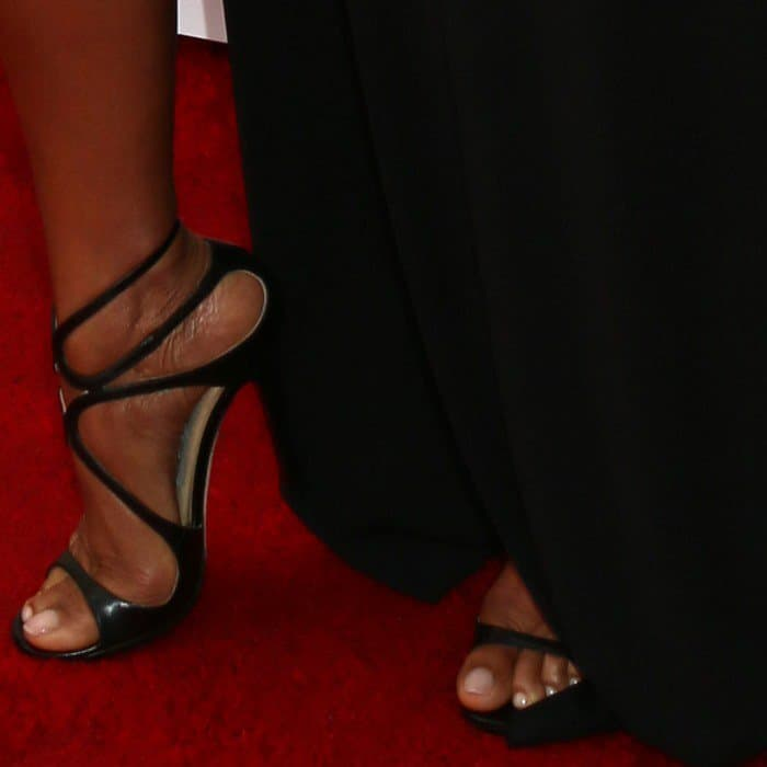 Taraji P. Henson's nude feet in strappy Jimmy Choo sandals
