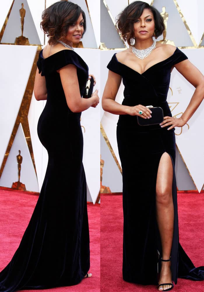 Taraji showed off a whole lot of cleavage in her off-shoulder velvet dress by Alberta Ferretti