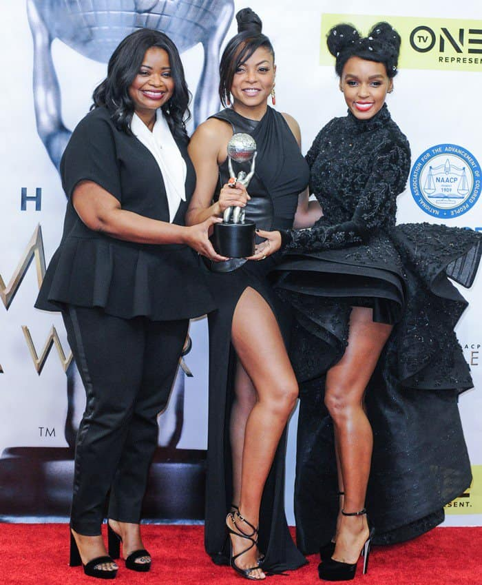 Octavia Spencer and Janelle Monae celebrating Taraji P. Henson's prestigious award
