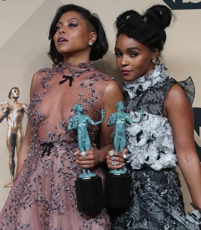 Taraji P. Henson and Janelle Monáe at the 23rd Screen Actors Guild Awards (SAG) held at The Shrine Auditorium Media Complex in Los Angeles on January 29, 2017