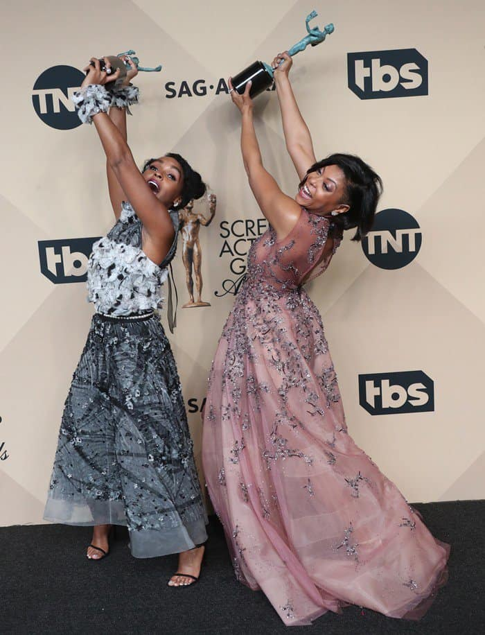 Janelle Monáe celebrates with Taraji P. Henson
