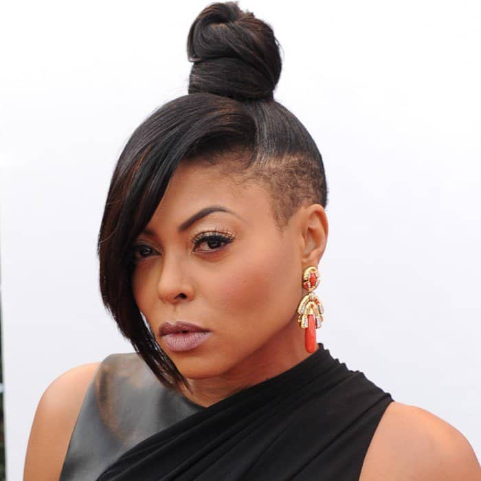 Taraji P. Henson's earrings from David Webb and a top knot