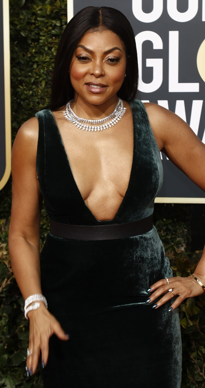 Taraji P. Henson highlighted her cleavage at the 2019 Golden Globe Awards held at the Beverly Hilton Hotel in Beverly Hills, California, on January 6, 2019