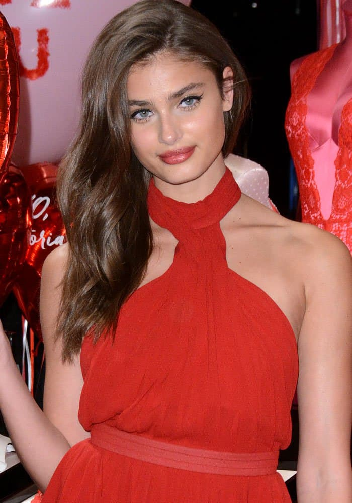 Taylor Hill shows off her Victoria's Secret Valentine's Day gift pick in New York