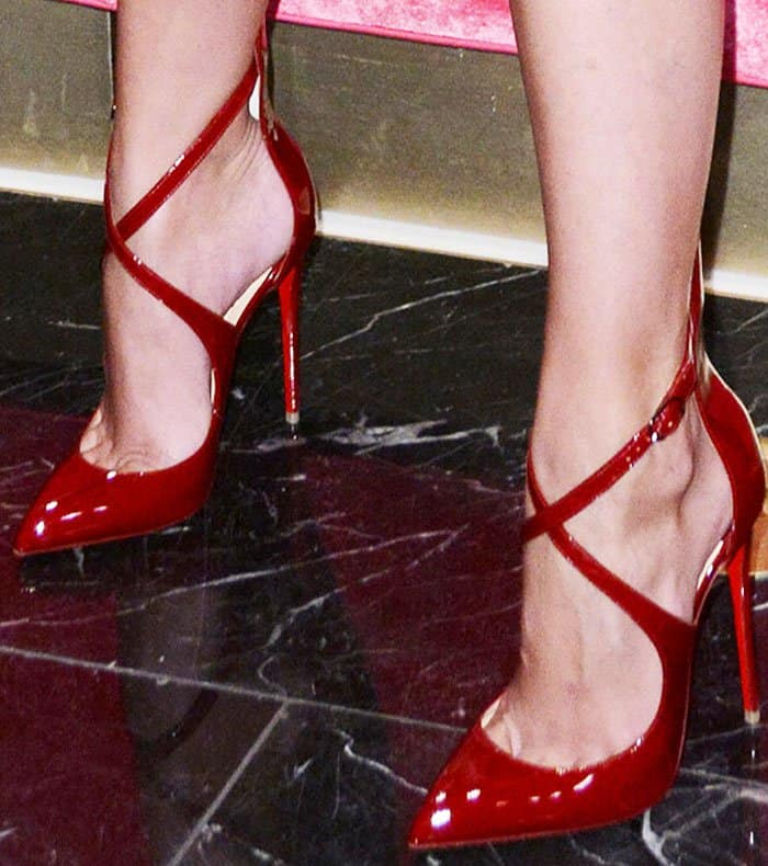 Taylor Hill redefines legs for days in a pair of Christian Louboutin Marlenarock pumps