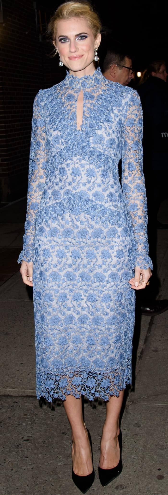 Allison Williams wearing an Erdem dress and Mariela Montiel black pumps at 'The Late Show with Stephen Colbert'