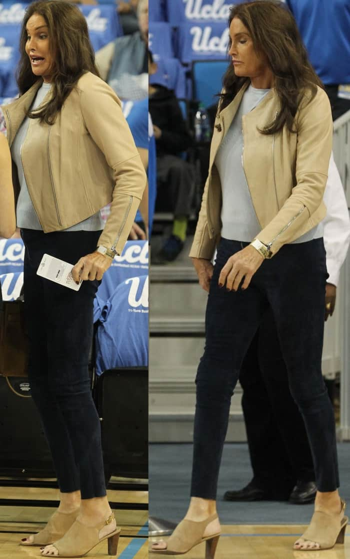 Caitlyn Jenner wearing slingback mules at the UCLA game