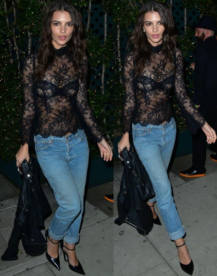 3bbf1a587af4 Emily Ratajkowski Turns Up the Heat in Racy Sheer Top and Ankle-Strap Heels