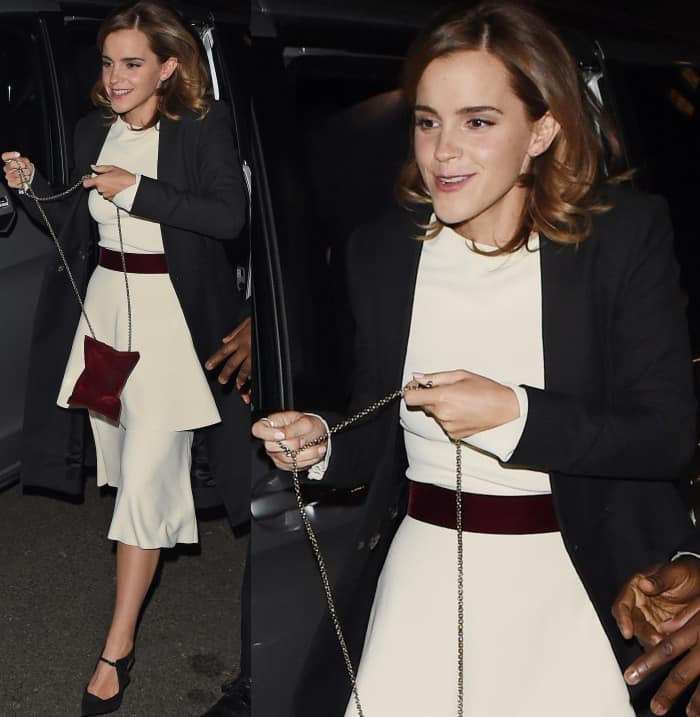 Emma Watson wearing pointy suede pumps at the 'Beauty and the Beast' Afterparty
