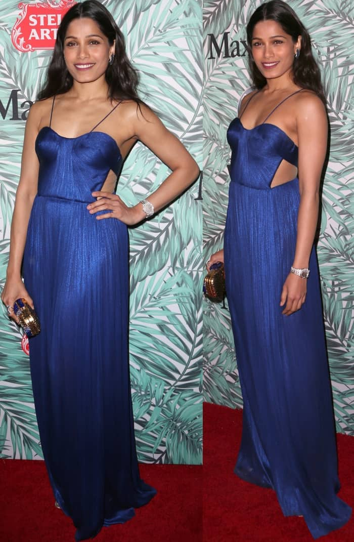 Freida Pinto's a sapphire blue gown from Maria Lucia Hohan