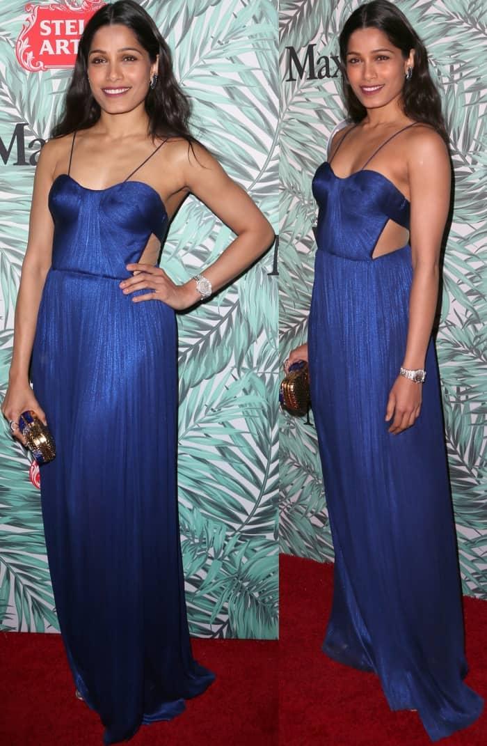 Freida Pinto'sa sapphire blue gown from Maria Lucia Hohan