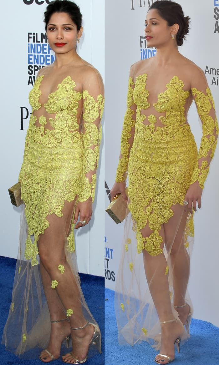 Freida Pinto in a sheer illusion dress from Uel Camilo