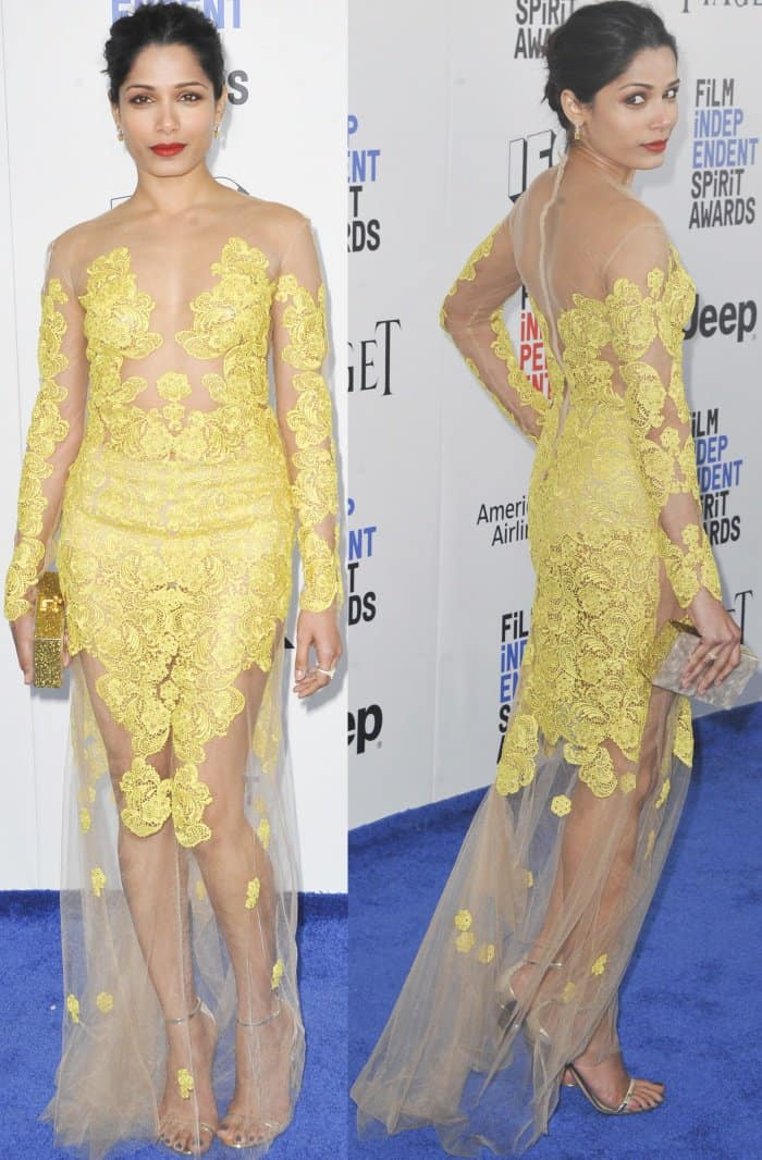 Freida Pinto wearing a Uel Camilo yellow lace dress and Nicholas Kirkwood 'Penelope' sandals