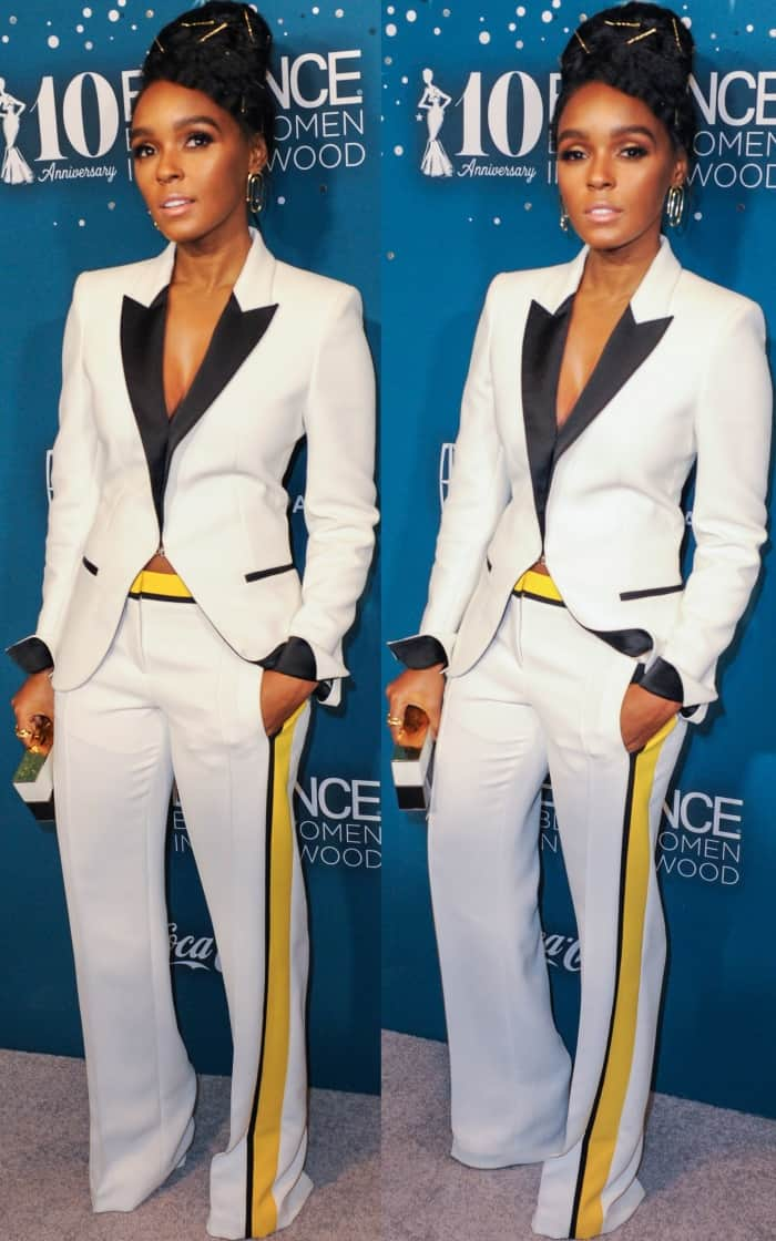 Janelle Monáe wearing a Barbara Bui two-piece suit at the 10th Annual Essence Black Women in Hollywood Awards