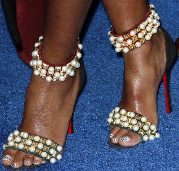 Janelle Monáe wearing Christian Louboutin 'Tudor Bal' Sandals