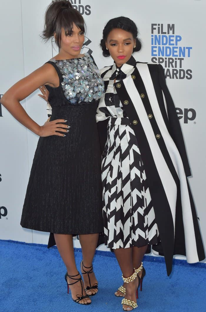 Janelle Monáe with Kerry Washington at the 2017 Film Independent Spirit Awards