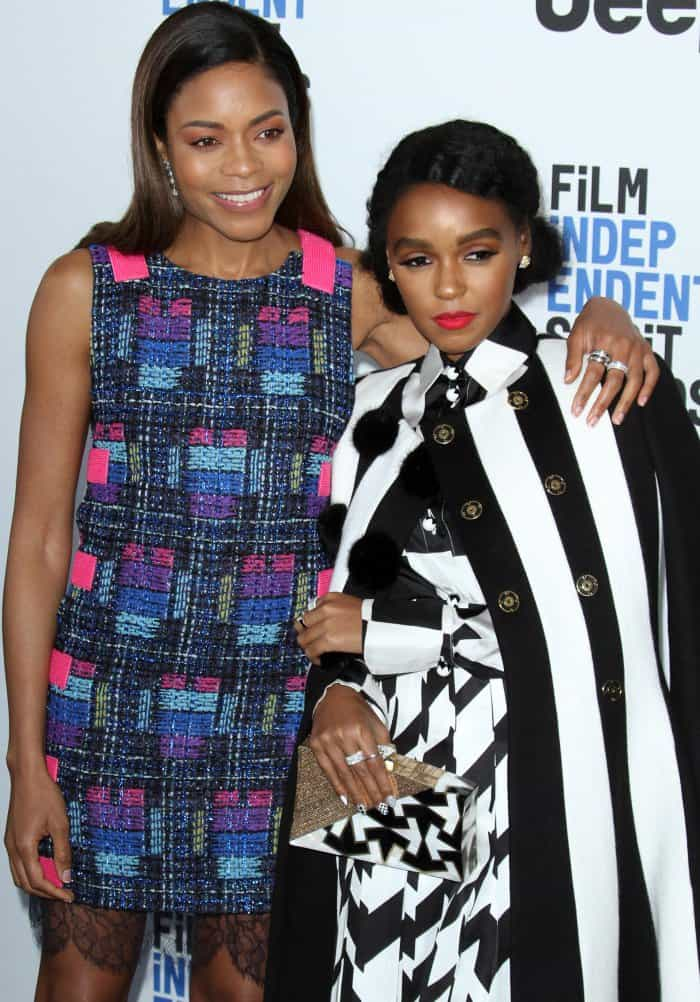 Janelle Monáe with Naomie Harris at the 2017 Film Independent Spirit Awards