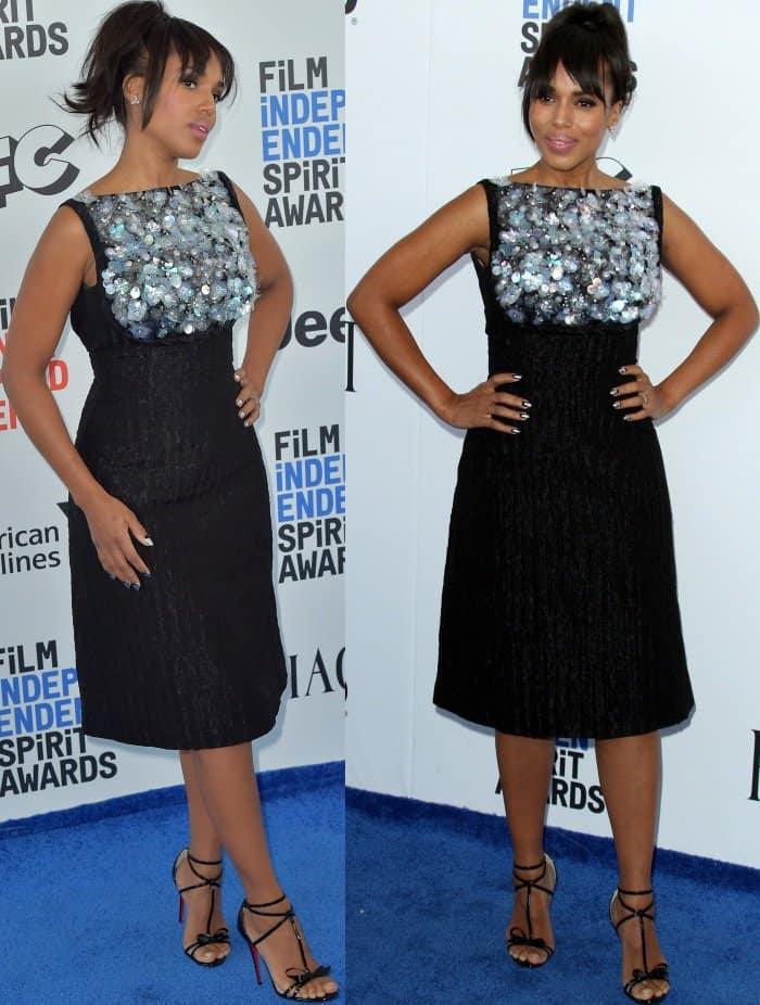 Kerry Washington wearing a black embellished Prada dress and Christian Louboutin 'Blakissima' sandals