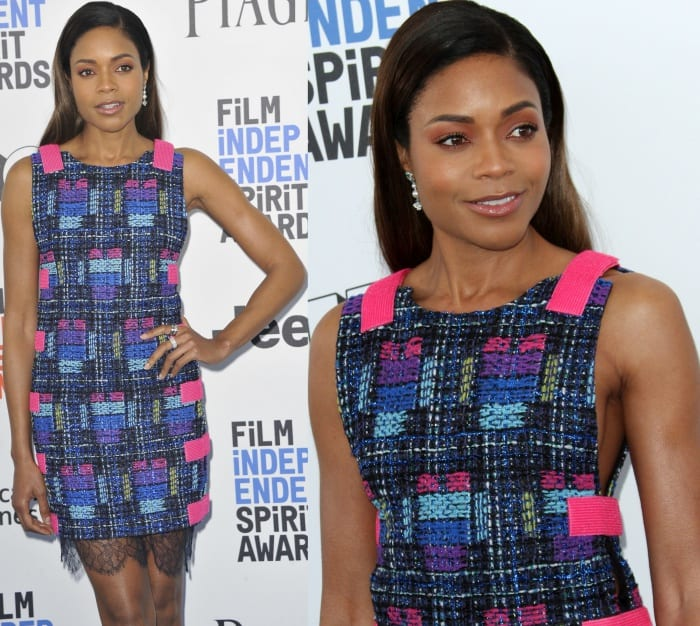 Naomie Harris wearing a textured and multicolored spring 2017 dress and pearl-embellished pumps from Chanel