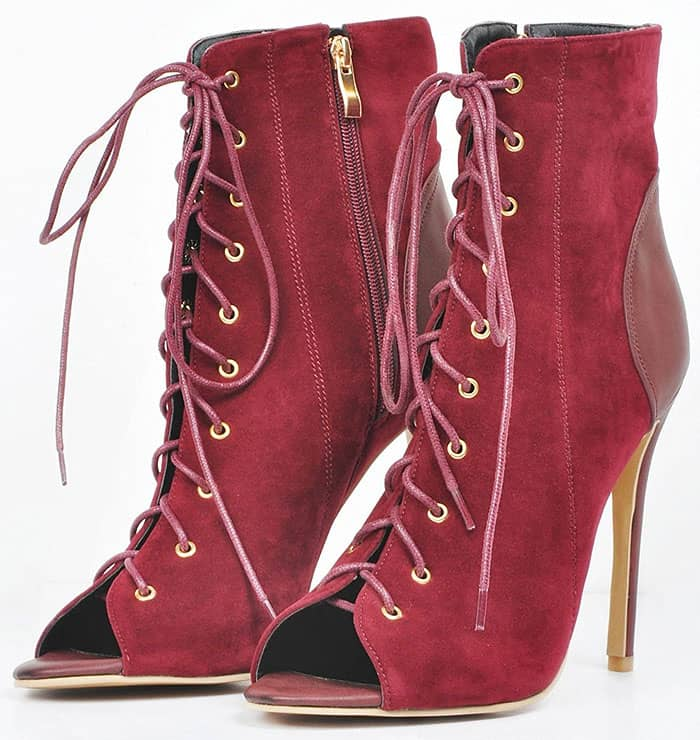 Peep-Toe Lace-Up Stiletto Booties