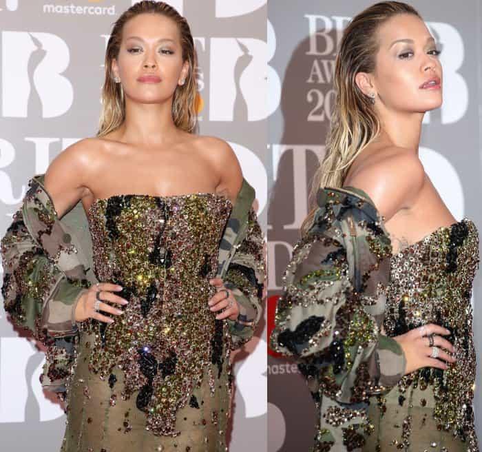 Rita Ora wearing Alexandre Vauthier at the 2017 Brit Awards