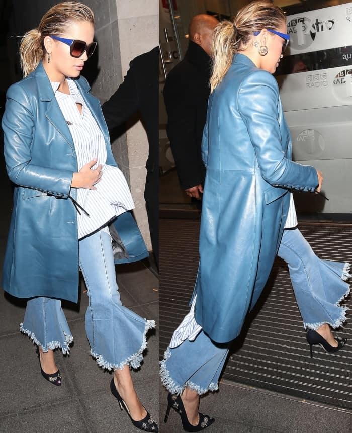 Rita Ora wearing Jimmy Choo 'Romy' embellished pumps at the BBC Radio 1 studios