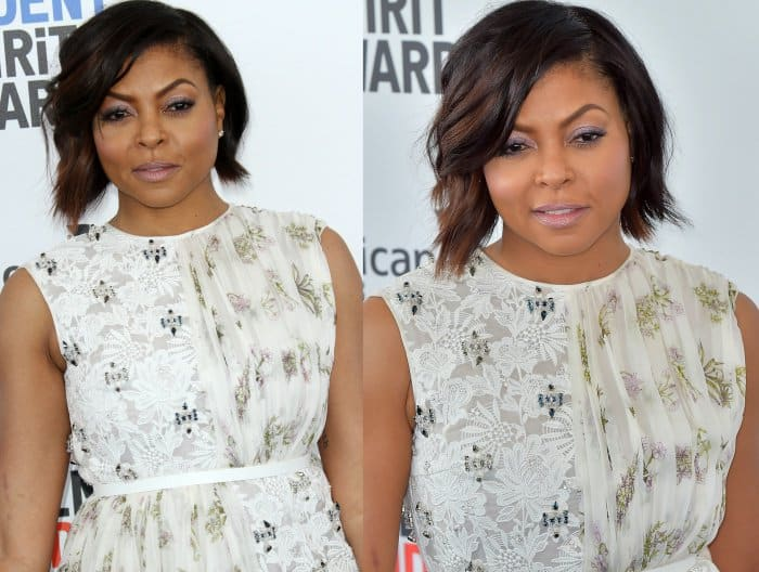 d930b40c67 Taraji P. Henson's hair was styled in a side-parted wavy bob, and