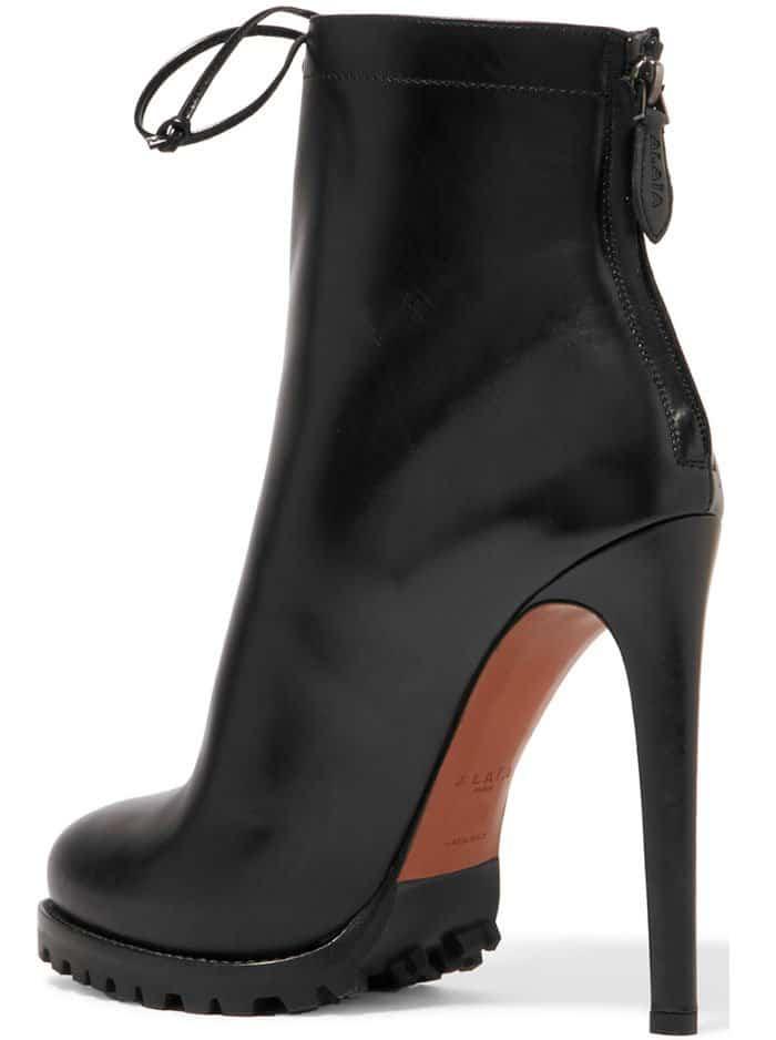 Alaïa Leather Lace Up Ankle Boots