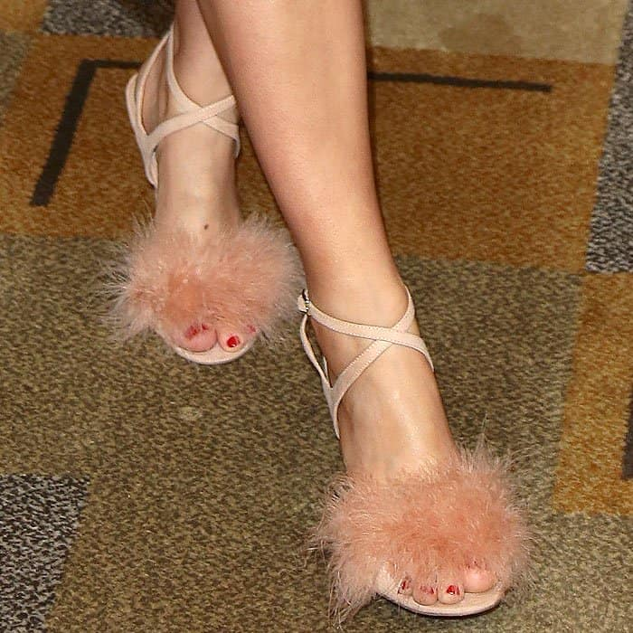"Topshop ""Reine"" feather-topped ankle-strap sandals on Alanna Masterson."