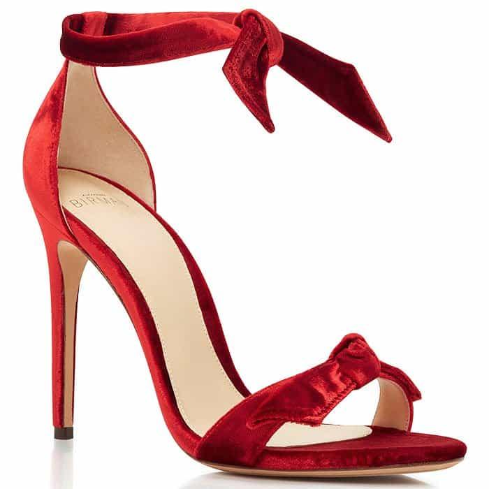 Alexandre Birman Clarita Red-Velvet Bow Sandals