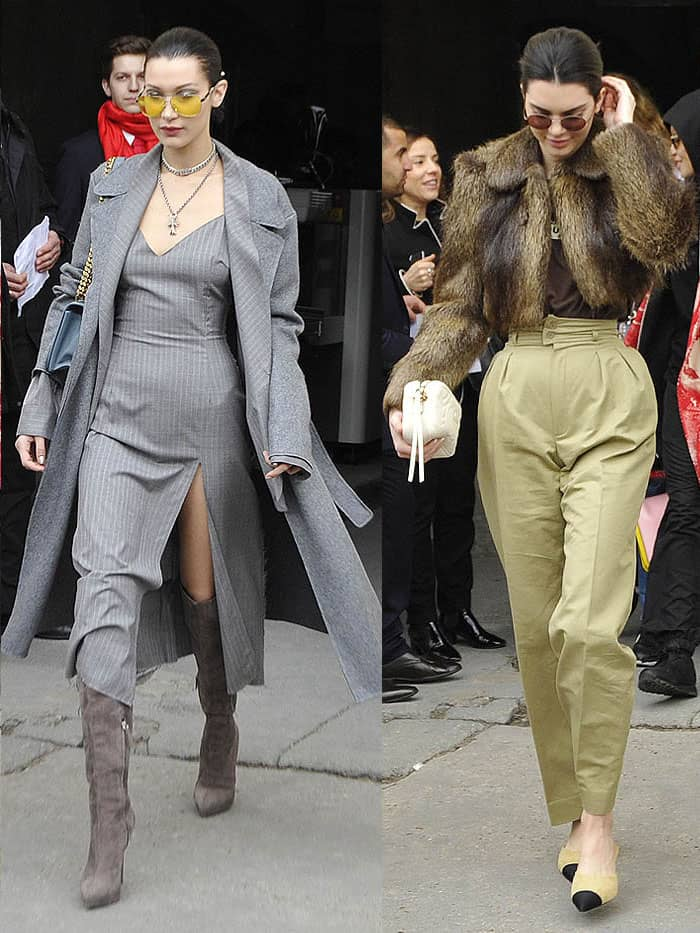 Bella Hadid and Kendall Jenner at the Chanel fall 2017 fashion show presented during Paris Fashion Week Womenswear Fall/Winter 2017/2018 in Paris, France, on March 7, 2017.