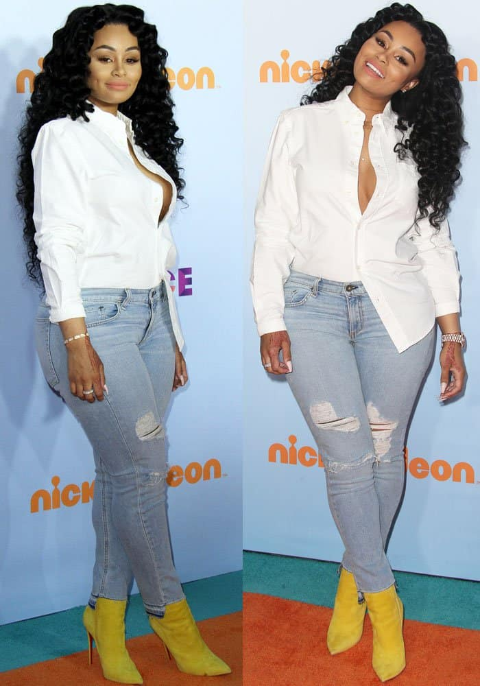 Blac Chyna rocked distressed jeans at Nickelodeon's 2017 Kids' Choice Awards