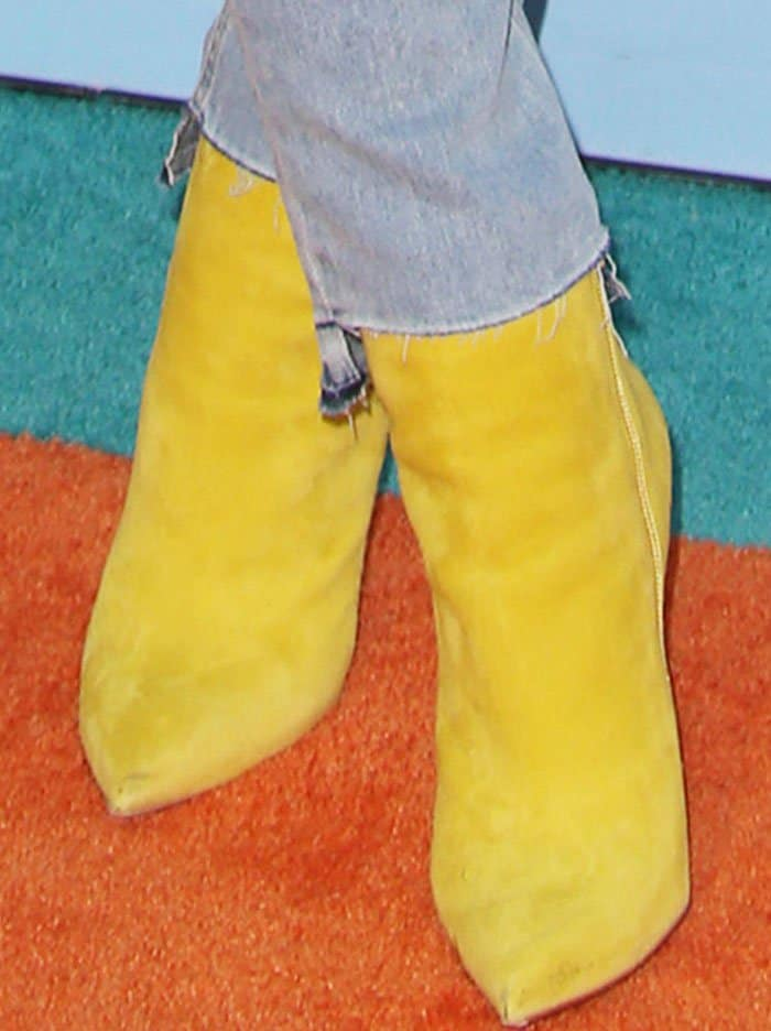 """Blac Chyna's yellow suede """"So Kate"""" ankle boots by Christian Louboutin"""