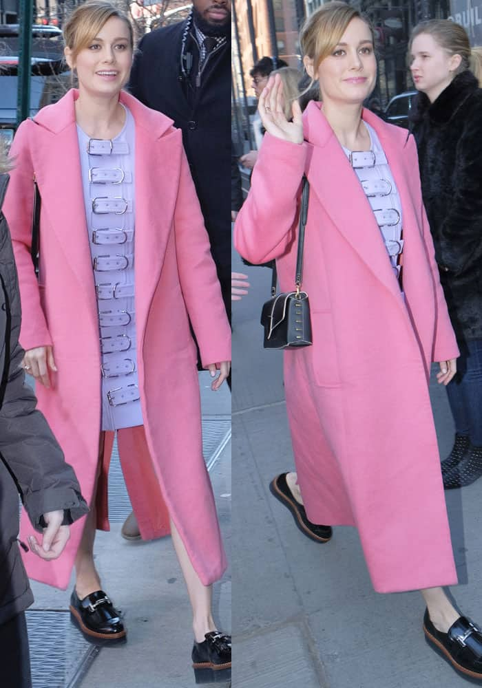 Pretty in pink: Brie opted for sweet colors for her promotional tour