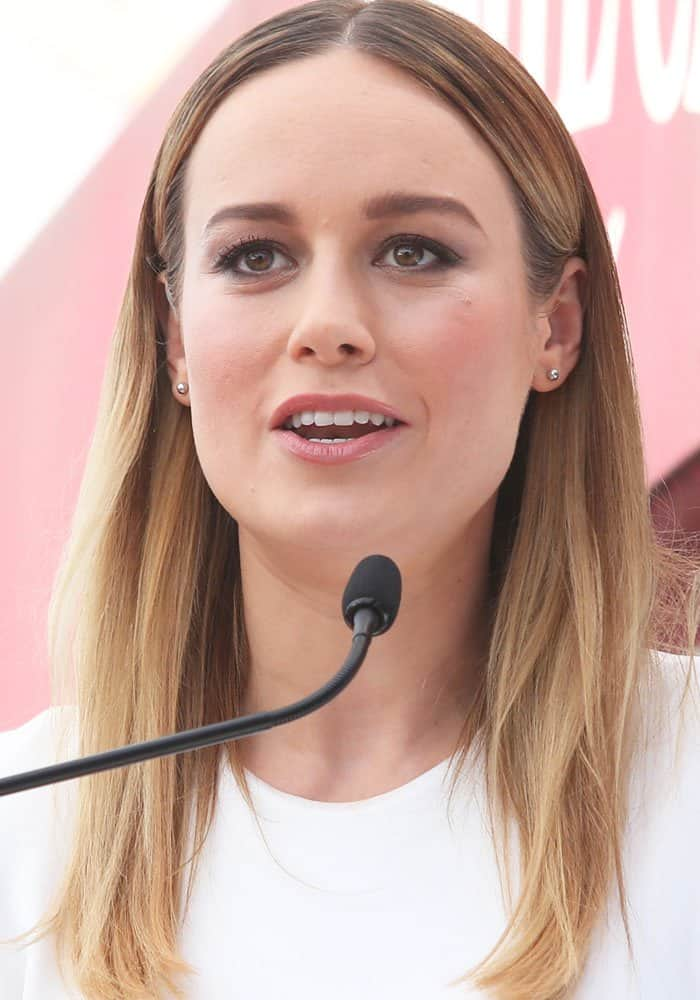 """Brie Larson supports friend John Goodman as he receives his star on """"The Hollywood Walk of Fame"""" in Hollywood on March 11, 2017"""