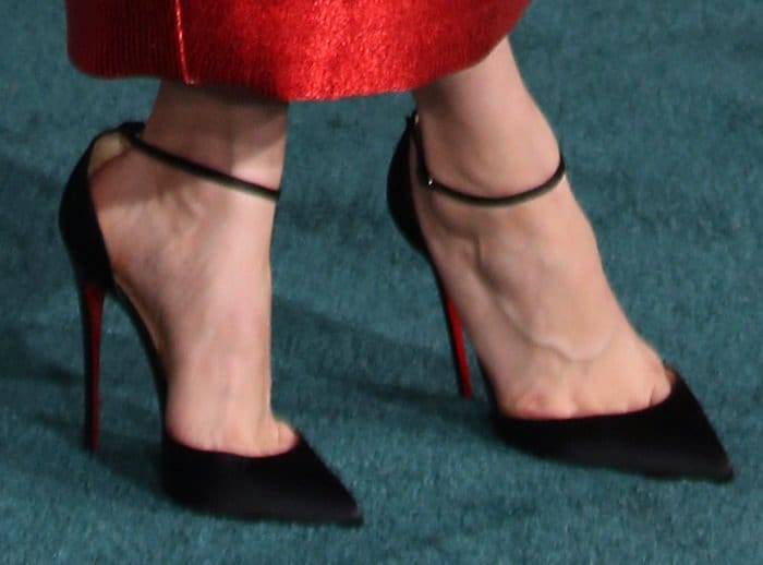Brie Larson in Christian Louboutin Uptown ankle strap pumps